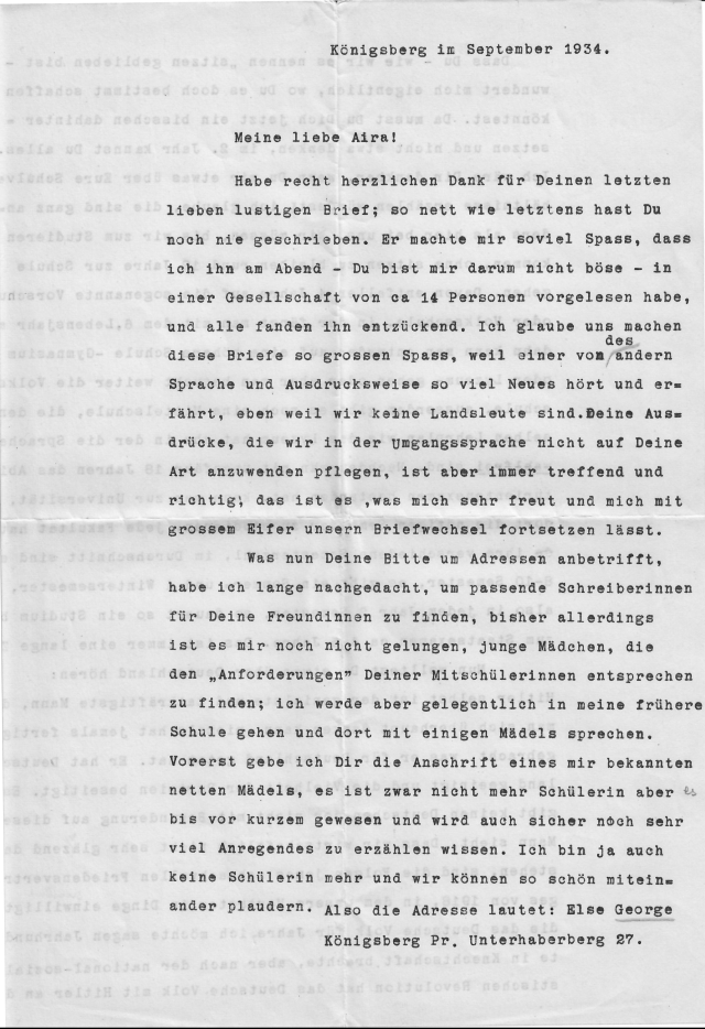 Christel Wenk letter September Königsburg